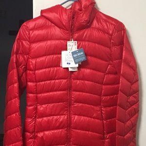 Women's ultra light down hooded shirt coat